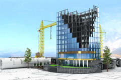 Abstract 3d of building development concept. Office building in process of construction Stock Photo