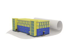 Abstract 3d building or office concept. On white Royalty Free Stock Photography