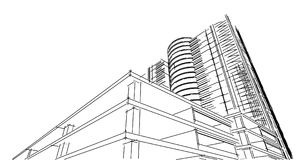 Abstract 3D building wireframe structure. Illustration construct. Ion graphic idea , Architectural sketch idea Stock Photos