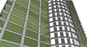 Abstract 3D building wireframe structure. Illustration construct. Ion graphic idea , Architectural sketch idea Stock Photography