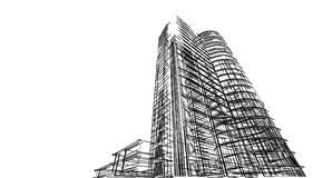 Abstract 3D building wireframe structure. Illustration construct. Ion graphic idea , Architectural sketch idea Royalty Free Stock Images