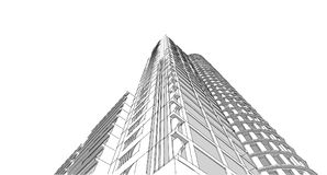 Abstract 3D building wireframe structure. Illustration construct. Ion graphic idea , Architectural sketch idea royalty free illustration