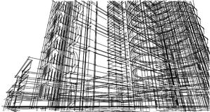 Abstract 3D building wireframe structure. Illustration construct. Ion graphic idea , Architectural sketch idea Royalty Free Stock Photography