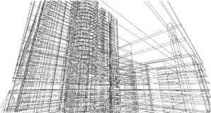 Abstract 3D building wireframe structure. Illustration construct. Ion graphic idea , Architectural sketch idea Stock Image