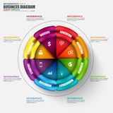 Abstract 3D business circular diagram Infographic. Can be used for workflow layout, data visualization, business concept with 6 options, parts, steps or royalty free illustration
