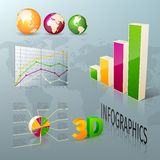 Abstract 3d business infographics design elements. Charts and graphs vector illustration Royalty Free Stock Image