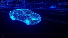 Abstract 3D Car Animation. Wireframe stock video footage