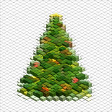 Abstract 3d christmas tree. Vector christmas tree form green square block. Design abstract 3d illustration Stock Photos
