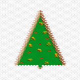 Abstract 3d christmas tree. Vector christmas tree form green square block. Design abstract 3d illustration stock illustration