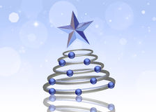 Abstract 3D Chrome Christmas Tree. Abstract 3D illustration: A chrome Christmas tree with blue ornaments and a star topper on a light blue bokeh background Royalty Free Stock Image