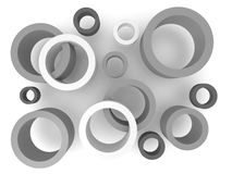 Abstract 3D Circles. Abstract 3D grey and white circles, isolated on white Royalty Free Stock Photos