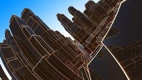 Abstract 3D city with luminous lines and black mirror buildings stock images
