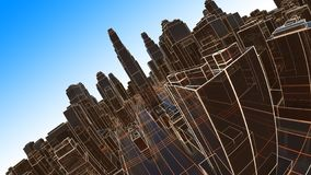 Abstract 3D city with luminous lines and black mirror buildings royalty free stock photography