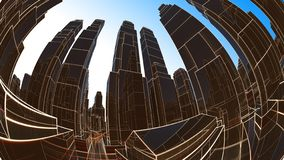 Abstract 3D city with luminous lines and black mirror buildings royalty free stock images