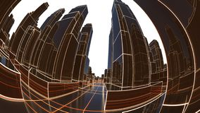 Abstract 3D city with luminous lines and black mirror buildings royalty free stock image