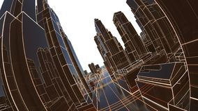 Abstract 3D city with luminous lines and black mirror buildings royalty free stock photo