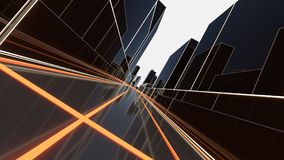 Abstract 3D city with luminous lines Royalty Free Stock Image