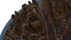 Abstract 3D city with luminous lines and black mirror buildings stock image