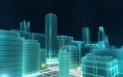 Abstract 3d city rendering with lines and digital elements. Technology blockchain business connection concept.  royalty free illustration