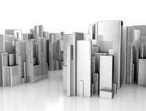 Abstract 3d city scape. Isolated on white background Stock Photos
