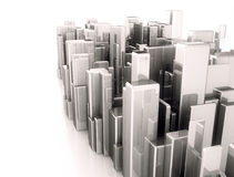 Abstract 3d city scape model. Metal 3d cubes abstract city illustration Stock Photo