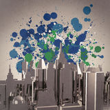 Abstract 3d city on splash colors background. As concept vector illustration