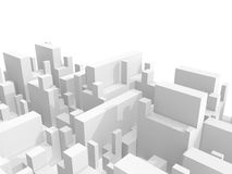 Abstract 3d cityscape over white background. Abstract schematic 3d cityscape over white background Royalty Free Stock Images