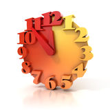 Abstract 3d clock on white. Background stock illustration