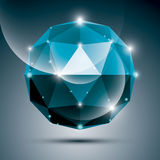Abstract 3D cobalt shiny sphere with sparkles, sapphire glossy o Stock Image