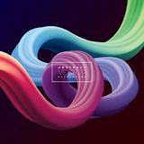 Abstract 3D Colorful Curve Line Background. Vector Liquid Fluid Artistic Color Illustration. Creative Concept for. Presentation or communication Poster Design Stock Photography