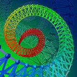 Abstract 3d colorful framed spiral. Helical rainbow background. Vector Illustration