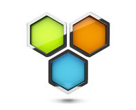 Abstract 3d colorful honeycomb design object. Isolated on white Vector Illustration
