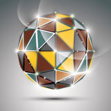 Abstract 3D colorful twinkle sphere with sparkles, metal preciou Royalty Free Stock Photos