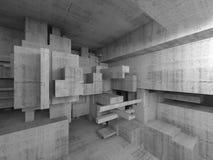 Abstract 3 D concreet binnenland met chaotische kubussen Royalty-vrije Stock Foto