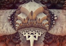 Abstract 3d construction. With beige and dark crimson Stock Photo
