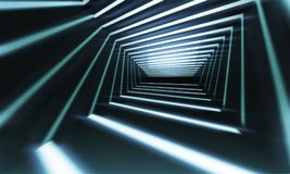 Abstract 3 d corridor perspective. Abstract 3d corridor perspective background with linear light beams royalty free illustration