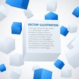 Abstract 3d cube background. Abstract 3d blue and white cubes background. Vector illustration stock illustration