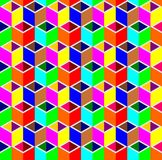 Abstract 3d cube box pattern background. Colorful triangle and rhombus pattern background, 3d isometric illustration pattern background Royalty Free Stock Photo