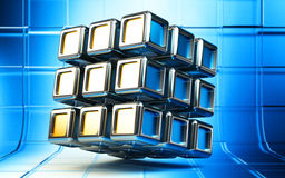 Abstract 3d cube. Abstract 3d composite cube structure from metallic blocks on blue square background Stock Images