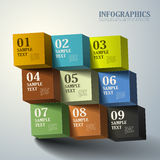 Abstract 3d cube infographics. Realistic vector abstract 3d cube infographic elements stock illustration