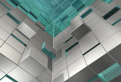 Abstract 3d cubes. Abstract 3d background of grey blue cubes, many different levels, pushed or jumped Royalty Free Stock Photography