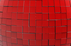 Abstract 3D cubes background. 3D rendered illustration of multiple red cubes arranged in a pattern. The cubes have been displaced from their initial position Royalty Free Illustration