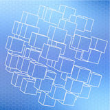 Abstract 3d cubes. On blue background stock illustration