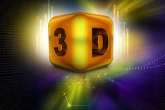 Abstract 3d cubes. In color background stock illustration