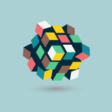 Abstract 3d cubes form, team building concept, illustration.  royalty free illustration