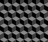 Abstract 3d cubes geometric seamless pattern in black and white, vector. Background Stock Image