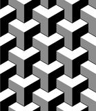 Abstract 3d cubes geometric seamless pattern in black and white, vector. Background Stock Photos