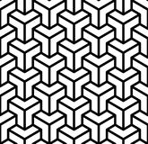 Abstract 3d cubes geometric seamless pattern in black and white, vector stock illustration