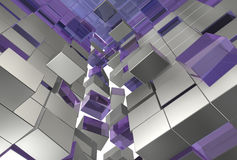 Abstract 3d cubes gray violet cubes. Abstract 3d background of gray violet cubes forming together on white background, many different levels, pushed or jumped Stock Photo