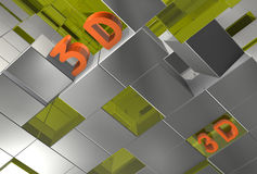Abstract 3d cubes. Abstract 3d illustration of gray green cubes forming together background, there is an inscription 3D, chaos Stock Image